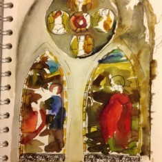 Watercolour of stained glass window, St Silas Church by Sue Lancaster. 2013 | Photo: Sue Lancaster