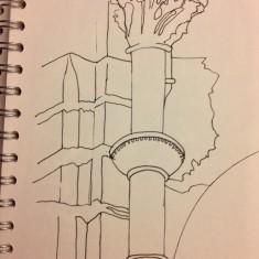 Sketch of pillar, St Silas Church by Sue Lancaster. 2013 | Photo: Sue Lancaster