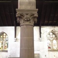 Stone carving on pillar, St Silas Church. 2013 | Photo: Sue Lancaster