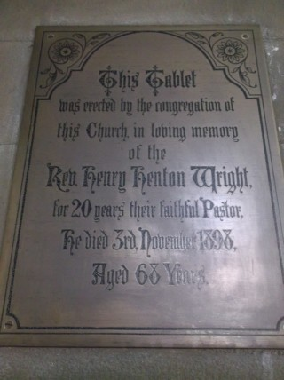 Memorial to Rev. Henry Henton Wright in St Silas Church. 2013