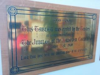 Hanover Methodist Church commemoration plaque, Jesus Centre, Broomspring Lane. 2013