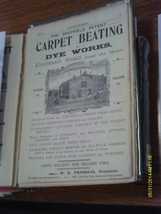 White's Directory advert for Sheffield Patent Carpet Beating and Dye Works.1902 | Photo: OUR Broomhall