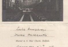St Silas Wedding certificate of Florrie Hardcastle & Leslie Humphries: 1937