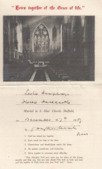 Marriage Certificate of Florrie Hardcastle and Leslie Humphries, St Silas Church. 27th December 1937 | Photo: Pat Collins