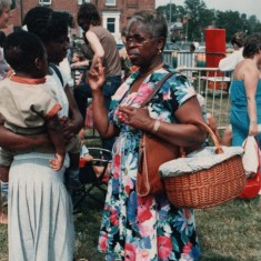 Woman with a picnic at the Broomhall Carnival | Broomhall Centre archive