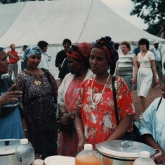 Broomhall Carnival: women discussing food. Possibly early 1990s | Photo: Broomhall Centre
