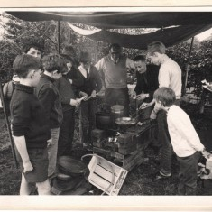 Scouts cooking. Malcolm Moore holding the egg | Photo: Josie Moore