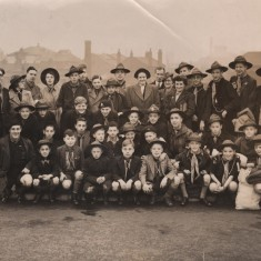 Sheffield Scouts including St Silas scouts. Malcolm Moore behind first child on left of front row. 1945-6 | Photo: Josie Moore