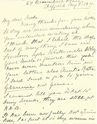 Dickinson letter 3: 8th August 1911. Page 1 | Photo: Judith Gaillac