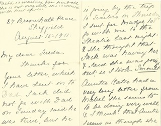 Dickinson letter 4: 15th August 1911. Page 1 | Photo: Judith Gaillac