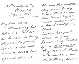Dickinson letter 7: 6th September 1911. Page 1 | Photo: Judith Gaillac