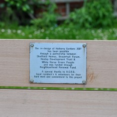 Bench in Holberry Gardens, 2014 | Photo: OUR Broomhall