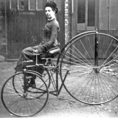 Miss Clara Hayball on her velocipede, 1875 | Photo: SALS PSy00516
