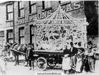 Band of Hope Gala Car in Trippet Lane. 1893 | Photo: SALS PSs02806