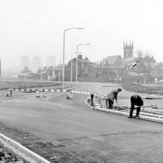 Upper Hanover Street showing new Inner Ring Road, Hanover Way. St. Silas' Church in background. 1965 | Photo: SALS PSs20137 & Sheffield Newspapers