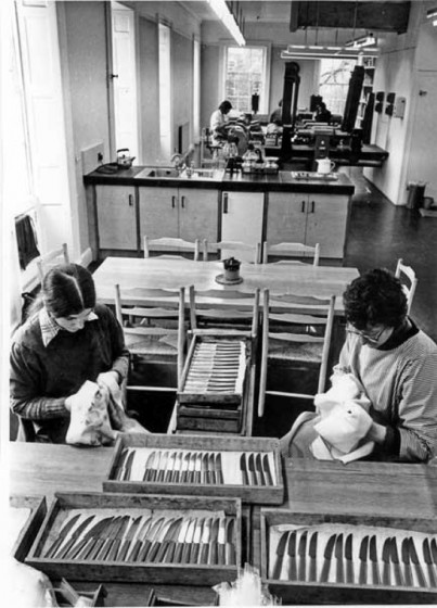 Wiping up & inspecting cutlery at 'Busex', David Mellor's firm at the Broom Hall. 1977 | Photo: SALS PSs02491 & Sheffield Newspapers