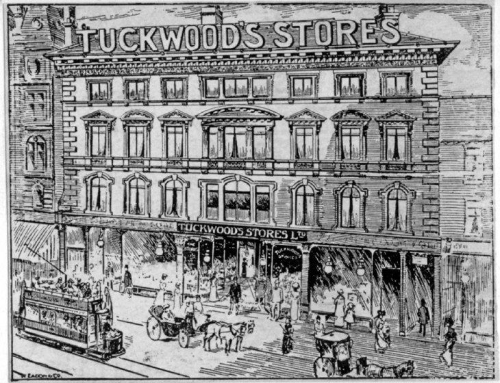 Tuckwood's Stores Ltd, Provision Merchants, Fargate Sheffield. 1908 | Photo: SALS PSs10504 & Sheffield Newspapers