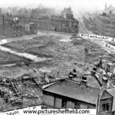 Aerial view of street in Broomhall, cleared after air raids. 1940s | Photo: SALS PSs01285 & Sheffield Newspapers