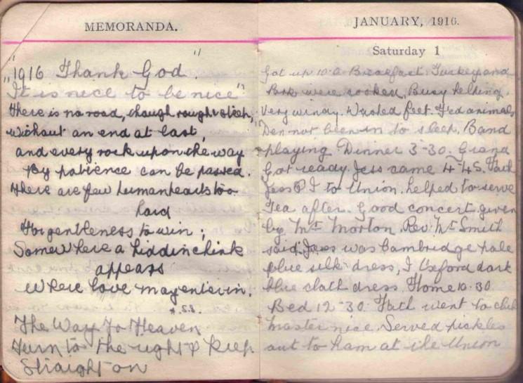Doris Hogan 1916 Diary: Memoranda and January 1st | Photo: Suzanne Cam