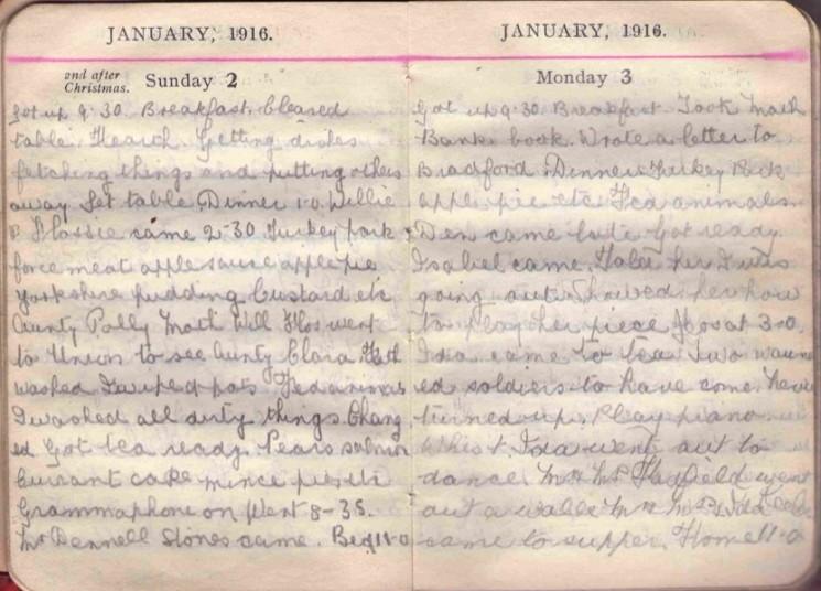 Doris Hogan 1916 Diary: January 2nd and 3rd | Photo: Suzanne Cam