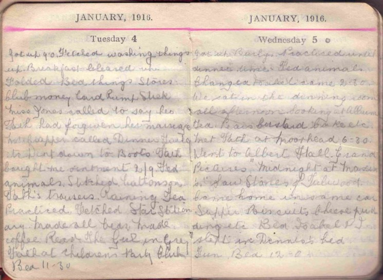 Doris Hogan 1916 Diary: January 4th and 5th | Photo: Suzanne Cam