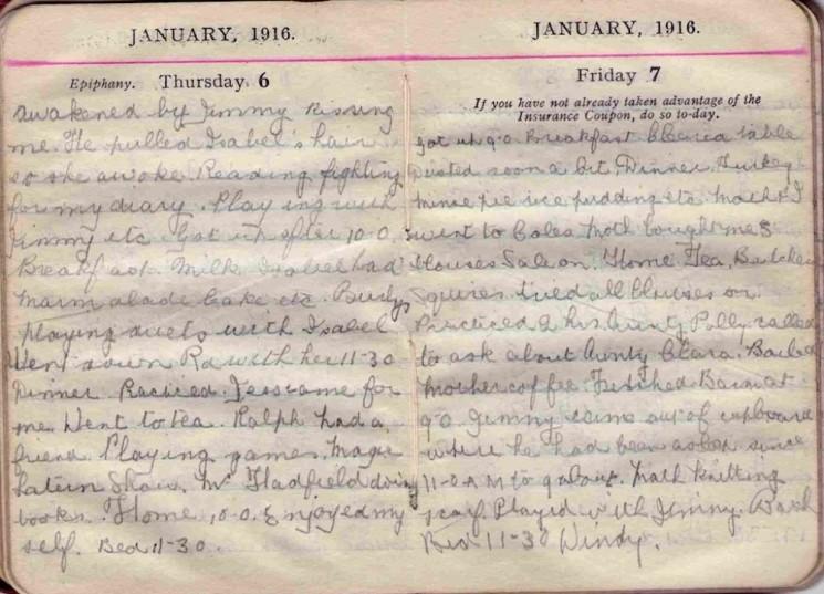 Doris Hogan 1916 Diary: January 6th and 7th | Photo: Suzanne Cam
