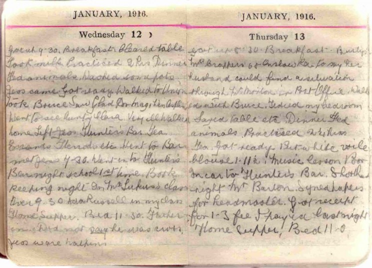 Doris Hogan 1916 Diary: January 12th and 13th | Photo: Suzanne Cam