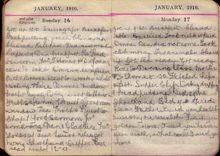Doris Hogan 1916 Diary: January 16th and 17th | Photo: Suzanne Cam