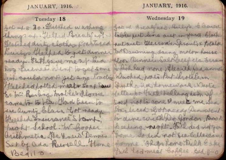 Doris Hogan 1916 Diary: January 18th and 19th | Photo: Suzanne Cam