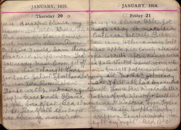 Doris Hogan 1916 Diary: January 20th and 21st   Photo: Suzanne Cam
