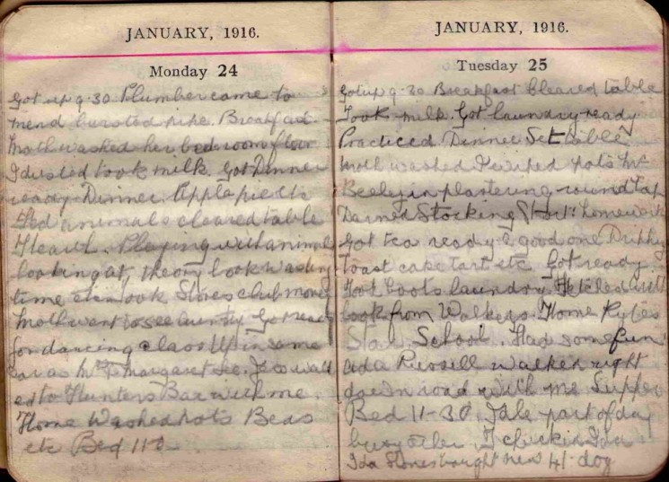 Doris Hogan 1916 Diary: January 24th and 25th | Photo: Suzanne Cam