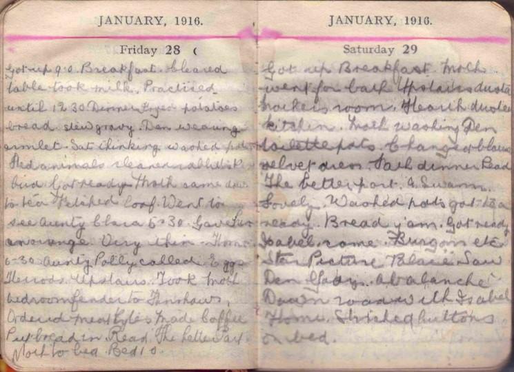 Doris Hogan 1916 Diary: January 28th and 29th | Photo: Suzanne Cam