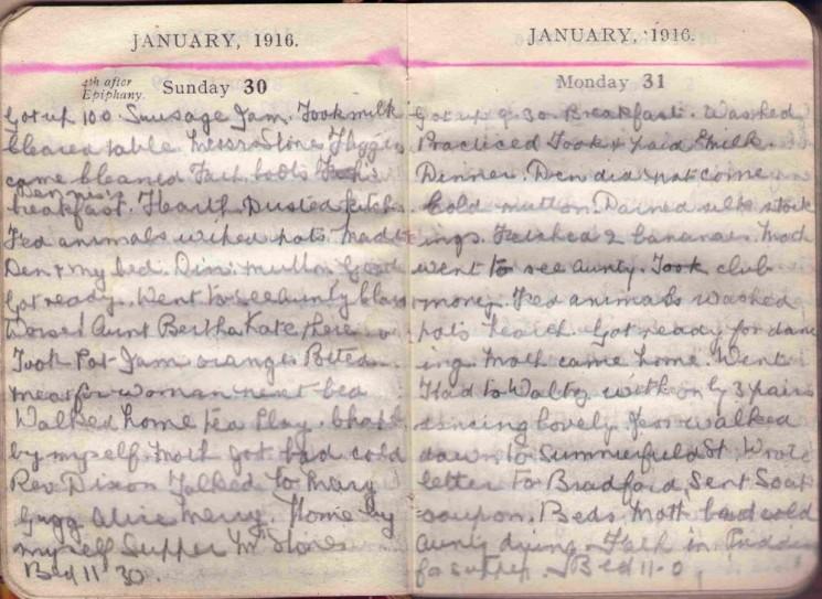 Doris Hogan 1916 Diary: January 30th and 31st | Photo: Suzanne Cam