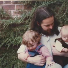 Anna, Tony and Sally outside the Rabbit House. 1981 | Photo: Polly Blacker / Tony Cornah