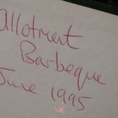 Back of photo of Allotment barbecue. 1995 | Photo: Polly Blacker / Tony Cornah
