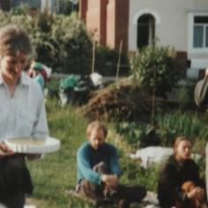 Polly, Jim, Jillian and Jaqui at the Holberry Gardens allotment barbecue. 1995 | Photo: Polly Blacker / Tony Cornah