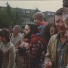 Tony and Anna at an event at the Hanover Flats. 1981 | Photo: Polly Blacker / Tony Cornah