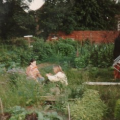 Mr Shah, Mr Amhed, Sally, Becky, Jillian and Jim at the Holberry Gardens allotment barbecue. 1995 | Photo: Polly Blacker / Tony Cornah