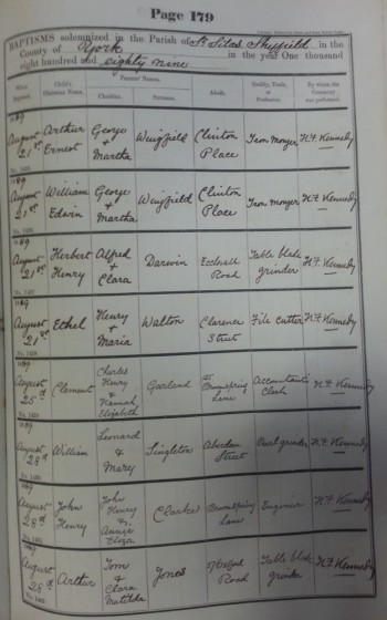 St Silas Parish Register Baptisms, 1889 | SALS PR76/1