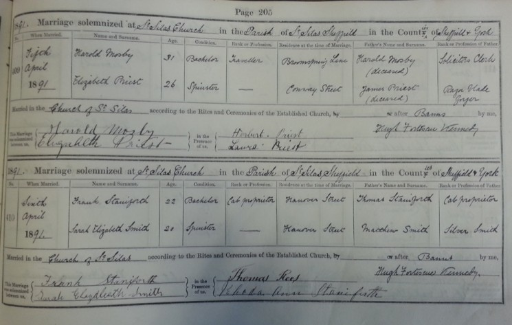 St Silas Parish Register Marriages, 1891 | SALS PR76/2