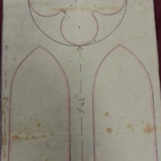 Sketches of St Silas Church windows with dimensions. Side stained glass window.   Photo: SALS PR76/43