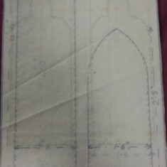 Sketches of St Silas Church windows with dimensions. Vicar's vestry outer door. | Photo: SALS PR76/43