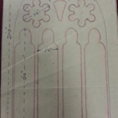 Sketches of St Silas Church windows with dimensions. Stained glass window over the altar. | Photo: SALS PR76/43
