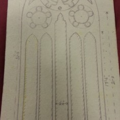 Sketches of St Silas Church windows with dimensions. Plain Glass Window Broomhall Street. | Photo: SALS PR76/43