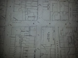 1st Edition map from 1890 showing St Silas church and Broom Lodge | Photo: SALS 294.11.4