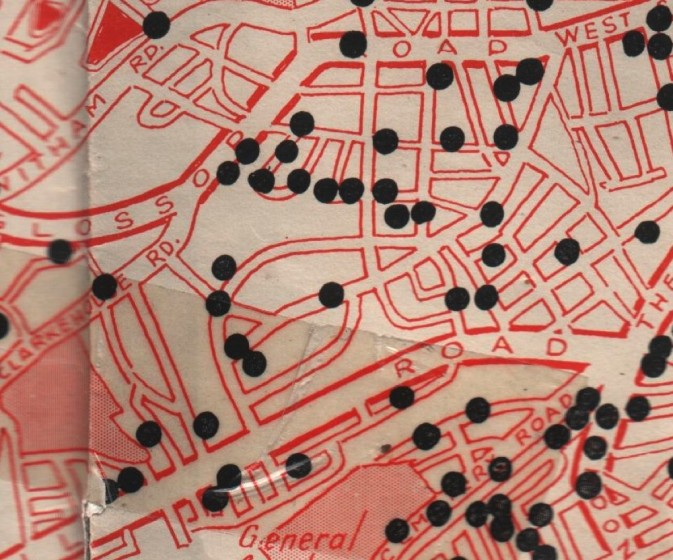 Where the bombs fell in Broomhall. 1940 | Photo: SALS Bomp map