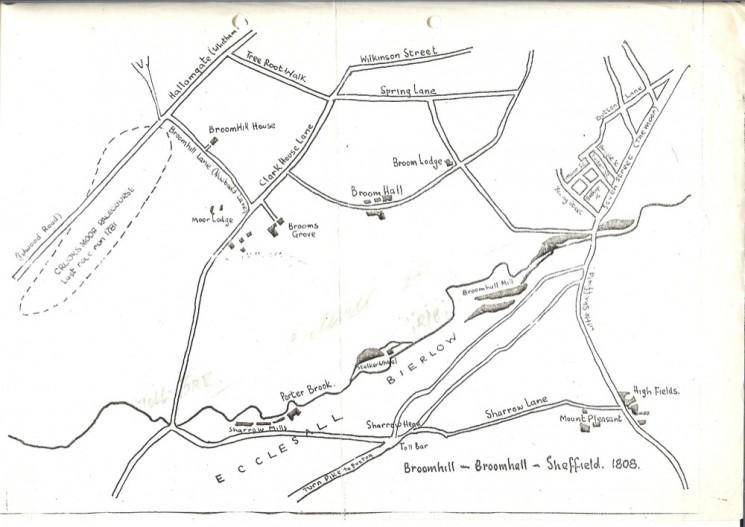 Map of Broomhill & Broomhall. 1808   Photo: Kelham Island Museum