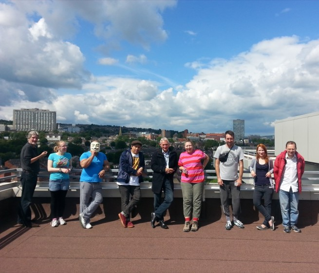Volunteers on the roof of Hanover Tower Block. Summer 2014 | Photo: OUR Broomhall