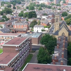 Hanover Street, Al Huda Centre and Broom Lodge (centre) St Silas (right). 2014 | Photo: Our Broomhall