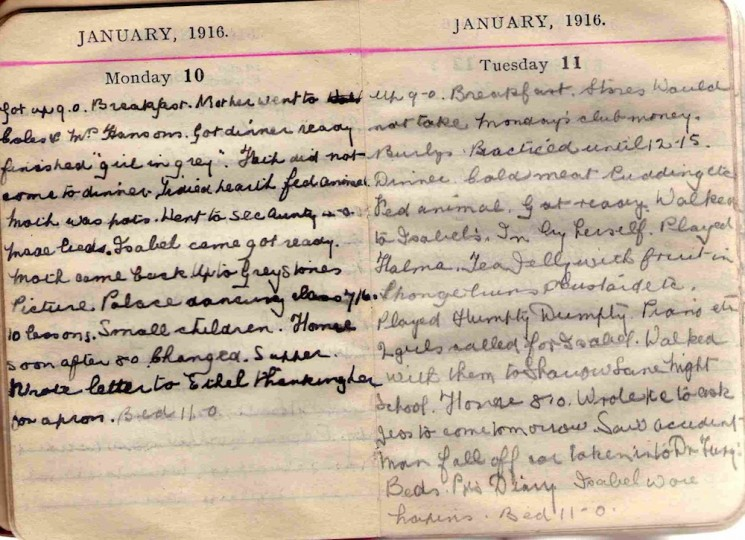 Doris Hogan 1916 Diary: January 10th and 11th | Photo: Suzanne Cam